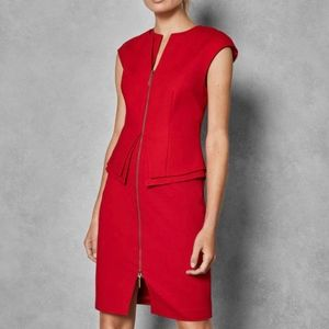 NWT Ted Baker Kwyli Red Structured Zip Peplum Dres